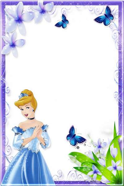 Kids Photoframe for girls - Cinderella, flowers and butterflies