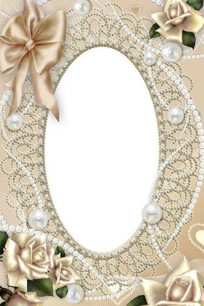 Wedding photo frame - Swans, pink roses, pearls