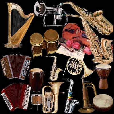 Musical instruments Clipart free psd download on a transparent background
