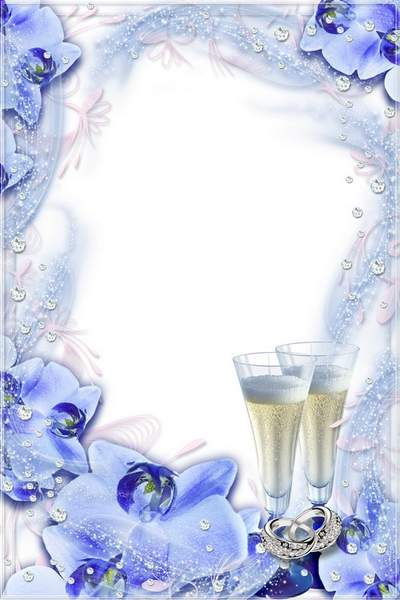 Romantic Frame - Wedding Blue Orchids and Brilliants
