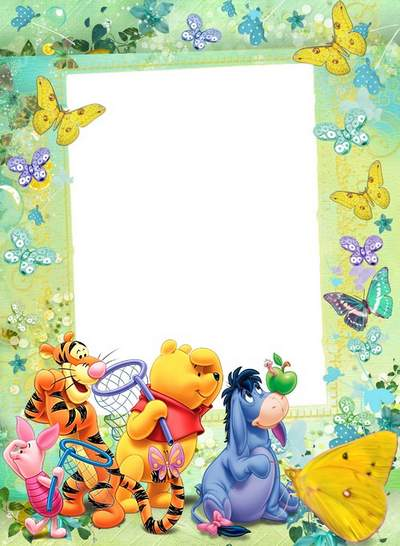 Child`s frame - Winnie and friends. Hunts on butterflies