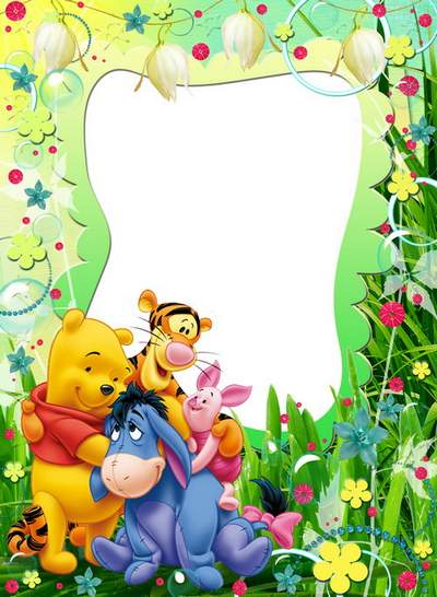 Child`s frame - Winnie and friends. Friendship begins with a smile
