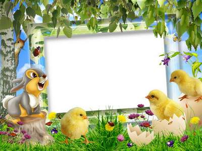 Children's Easter frame free download - Bright holiday in the clearing