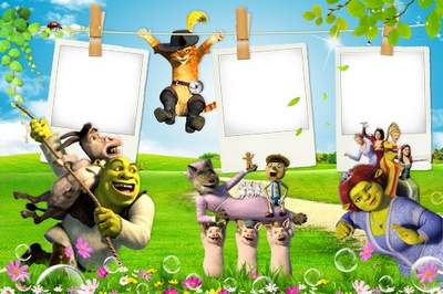 Children's frame with heroes of the animated film Shrek free download