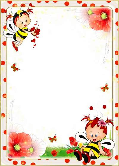 Child's frame for a photo free download - Romantic bees in red maquis