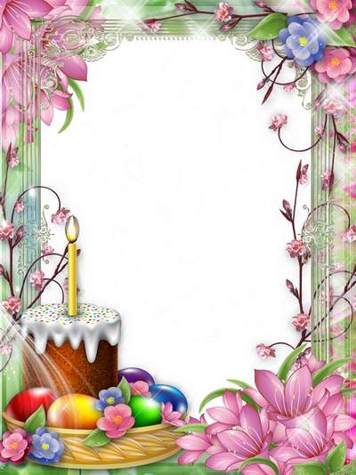 Easter frame download - White tablecloth, candle, fragrance of cake
