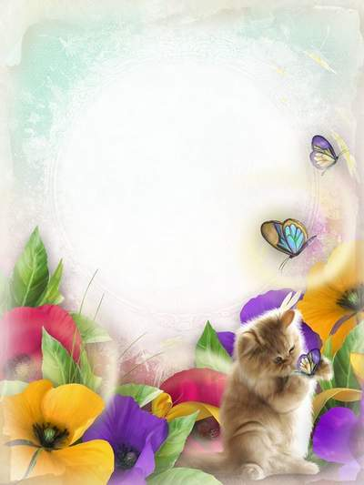 Photo Frame for positive child pictures free download - Cat and Butterfly