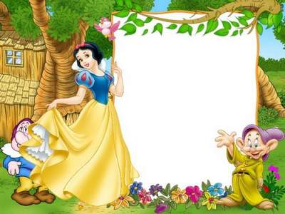 Kid's Frame psd Snow White Princess Gnomes on the glade free download