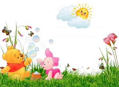 Baby Frame psd + png  Winnie the Pooh and Piglet free download
