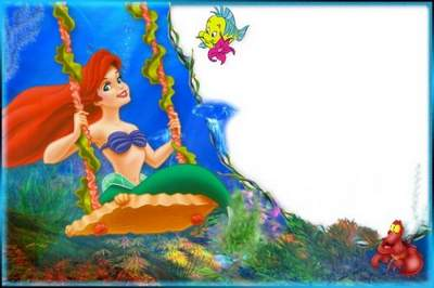 Kid's Frame for Photoshop - Little Mermaid Ariel on a swing free download