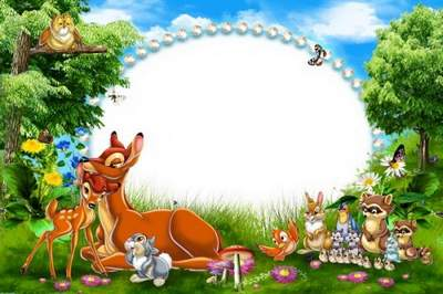 Cartoon Frame for Kid's Photo - Bambi in the Forest free download