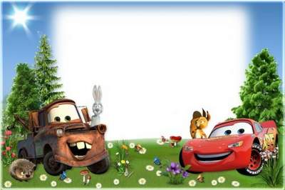 Kid's Photo frame Cars in the forest free download
