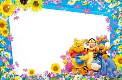 Kid's Frame for a Photo with Heroes of Cartoon Films - Summer, Sun and Friends