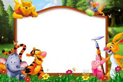Children's frame for Photoshop download - Winnie the Pooh