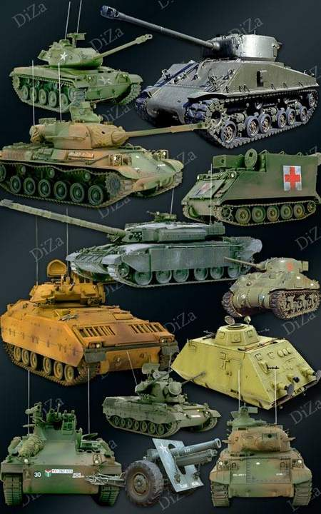 Military Clipart download free psd - Tanks and military vehicles on a transparent background