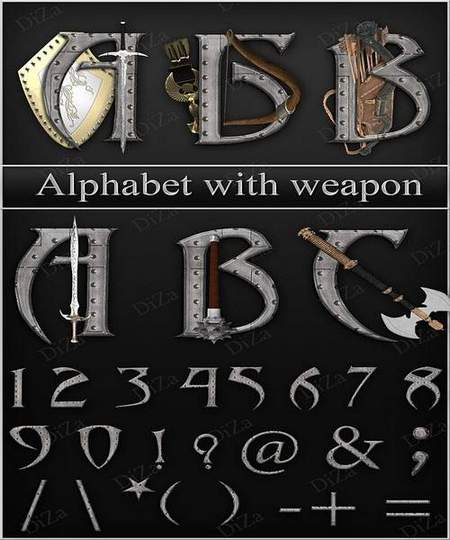 Alphabet download - military style 3 free png images Russian and English alphabet with weapon