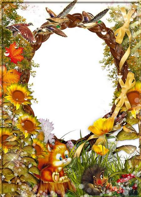 Autumn frame for Photoshop - a Sparrow in garden breath
