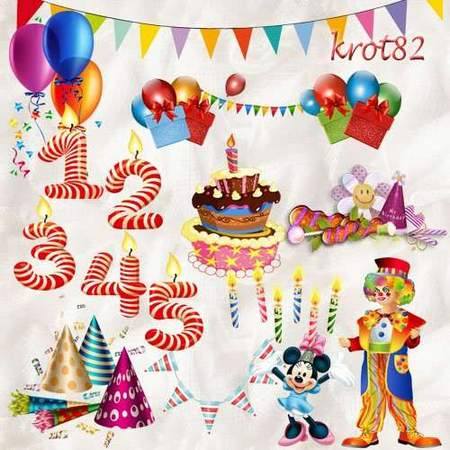 Birthday clipart download - 92 free png images candles, cake, balloons, clown, numbers