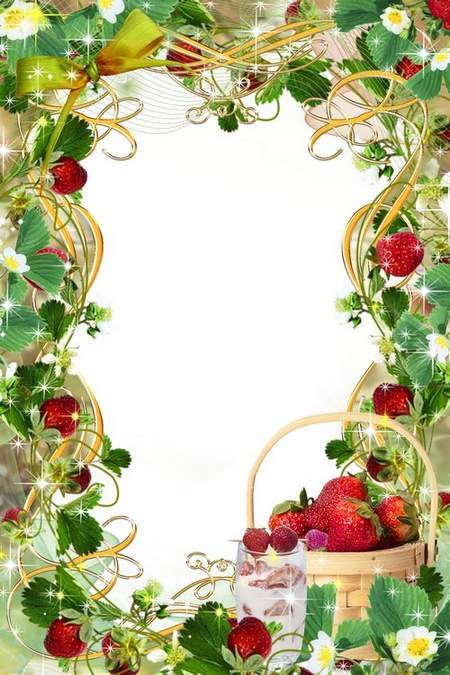 Summer frame with strawberries - Juicy and red, what a beautiful