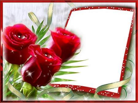 Multilayer Flower frame for photo - Tea Rose