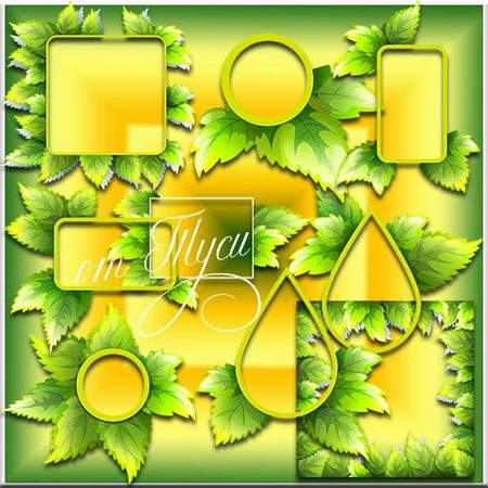 Photoshop clipart download - leaves frame cutouts (free psd file)