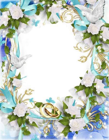 Blue wedding photo frame with doves, flowers and ribbons