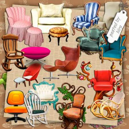 Furniture Clipart download - Beautiful Chairs and Ottomans 242 free png images