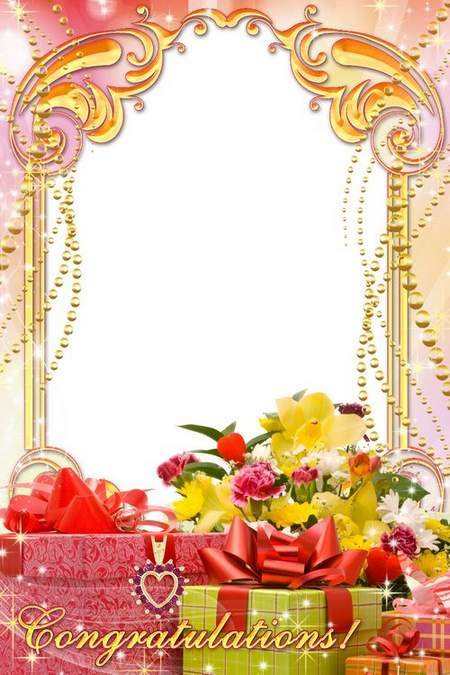 Greeting frame for congratulations - Bouquet of the hedgehog