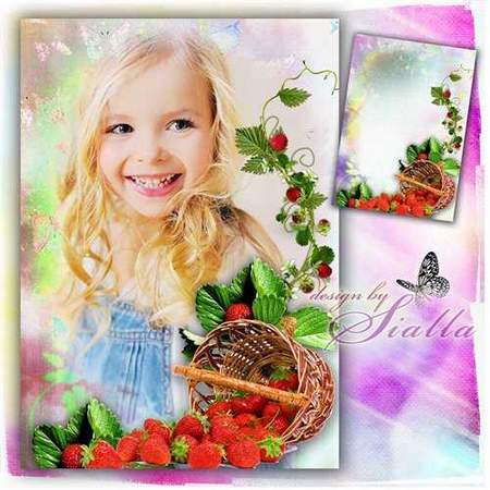 Strawberry Photo frame template download