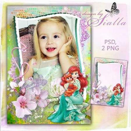 Beautiful Photoframe for girls - Princess Ariel (free frame psd + free frame png)