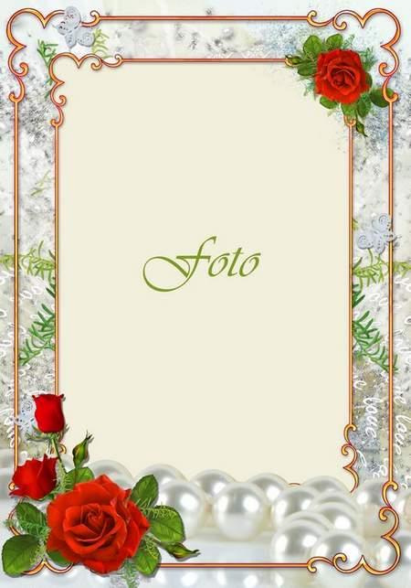 Elegant wedding frame with red roses and string of pearls