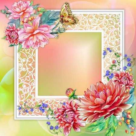 Flower frame card download - free psd template