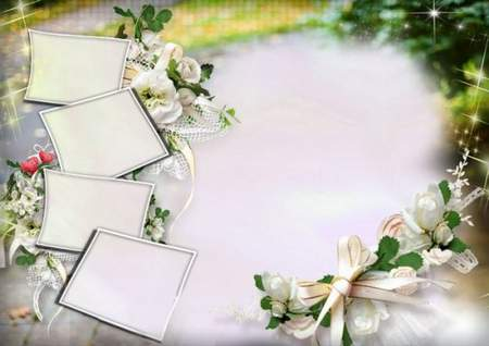 Wedding frame download - Wedding photo frame collage for 5 photos (psd +png)