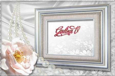 Frames for Photo - Pink and Silver, Roses on Silk