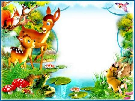 Children photo frame psd download - Bambi