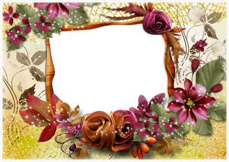 Photo frame psd download - Delicate flowers