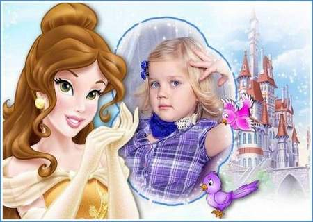 Children frame for girls download - photo frame template with princess Belle