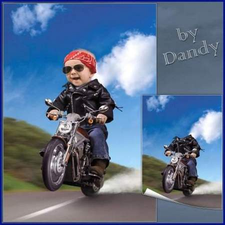 Free Photoshop Template for a boy download - a Desperate biker