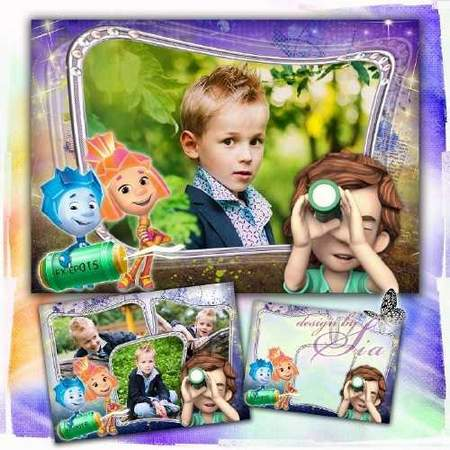 Kids photoshop frame download - Fixiki Frame on 1 and 3 photos