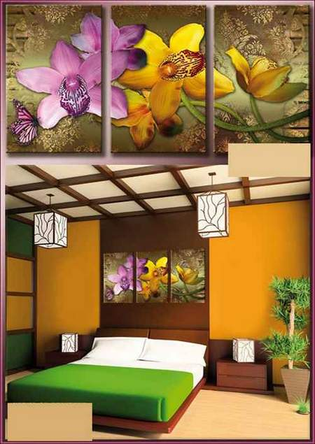 Free Modular painting psd download - triptych with simulated strokes - Pink and yellow orchids