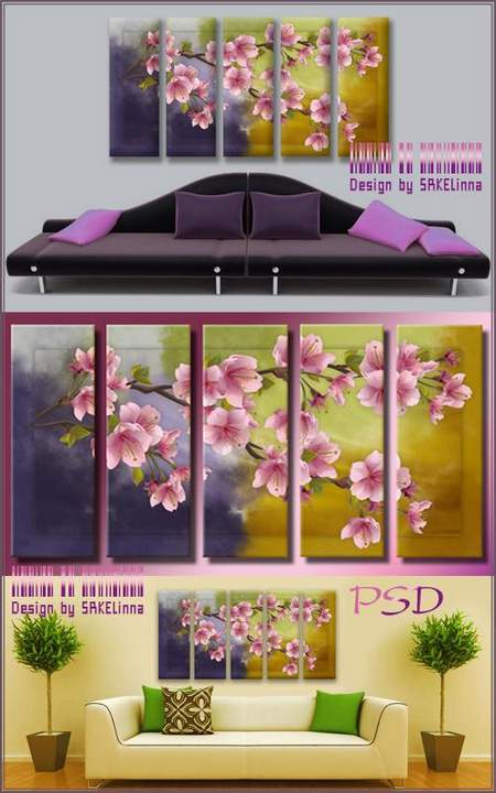 Free Modular painting download - polyptych psd with simulated brushstrokes Sakura