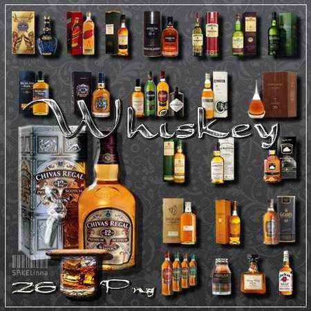 Bottle of whisky on a transparent background - free clipart 26 png images