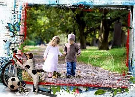 Children photo frame template download - free frame psd + free frame png