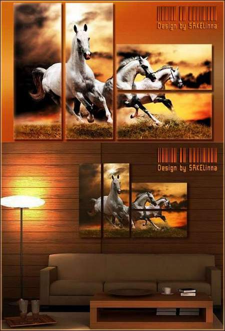 Modular painting download - Free polyptych psd with simulated brushstrokes Horse