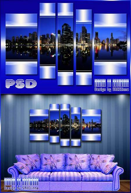 Polyptych psd download - free Modular painting Big city lights