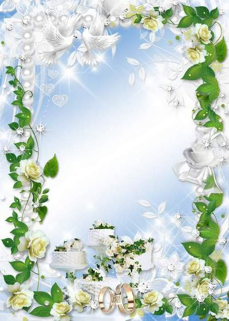 Delicate wedding frame with white flowers