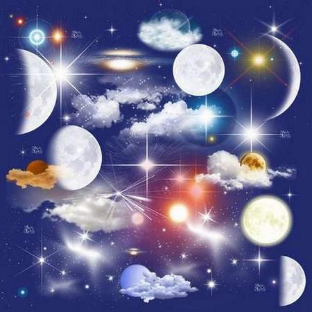 Moon, stars, clouds on a transparent background - free clipart psd night sky