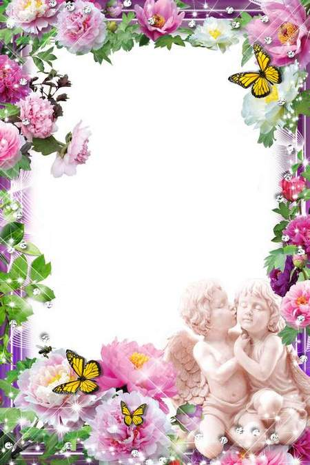 Flower frame for photoshop - Romantic flowers