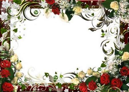 Frame psd + png - Among the colors and scents of roses, magic moments playing