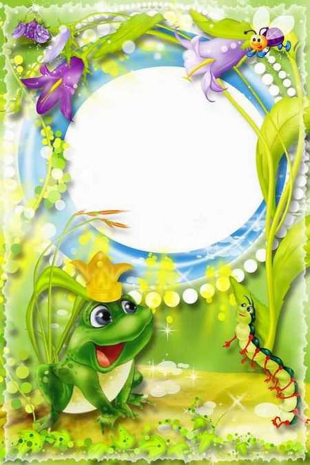 Baby frames for photoshop download - Princess frog ( free 3 frame psd)